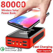 Banco de energía Solar inalámbrico de 80000mAh, batería externa, 4USB, LED, portátil, cargador de teléfono móvil para Xiaomi y Iphone