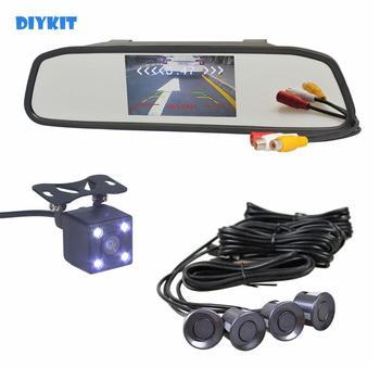 "DIYKIT Video Parking Radar 4 Sensors 4.3"" Car Mirror Monitor + 4 x LED Car Rear View Camera Parking Assistance System"