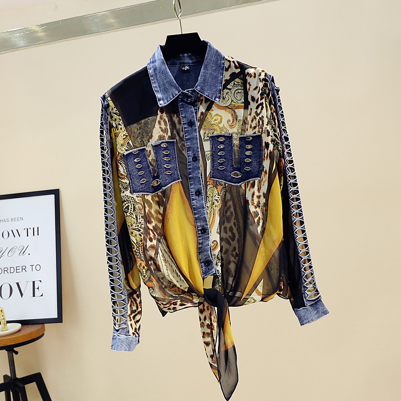 Леопардовая джинсовая Лоскутная рубашка женская шифоновая Кружевная блуза с бантом и длинным рукавом женская модная одежда LT398S30