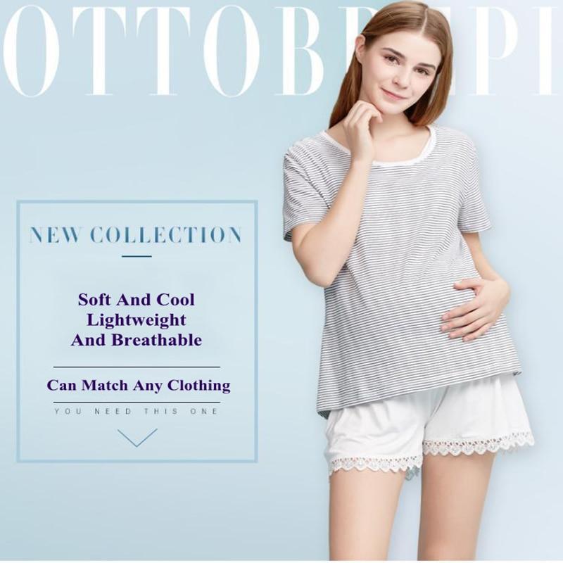 Summer Maternity Safety Pants Anti-glare thin, Loose And Large Size Base Leggings Summer Fashion Stomach Lift Lace Shorts