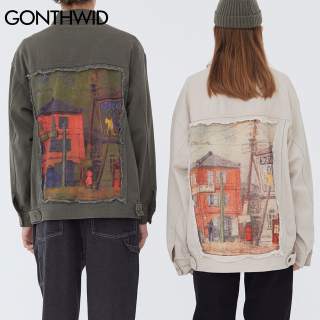 GONTHWID House Print Patchwork Denim Jackets Streetwear Mens Hip Hop Harajuku Casual Jeans Jacket Coats Harajuku Fashion Tops 4
