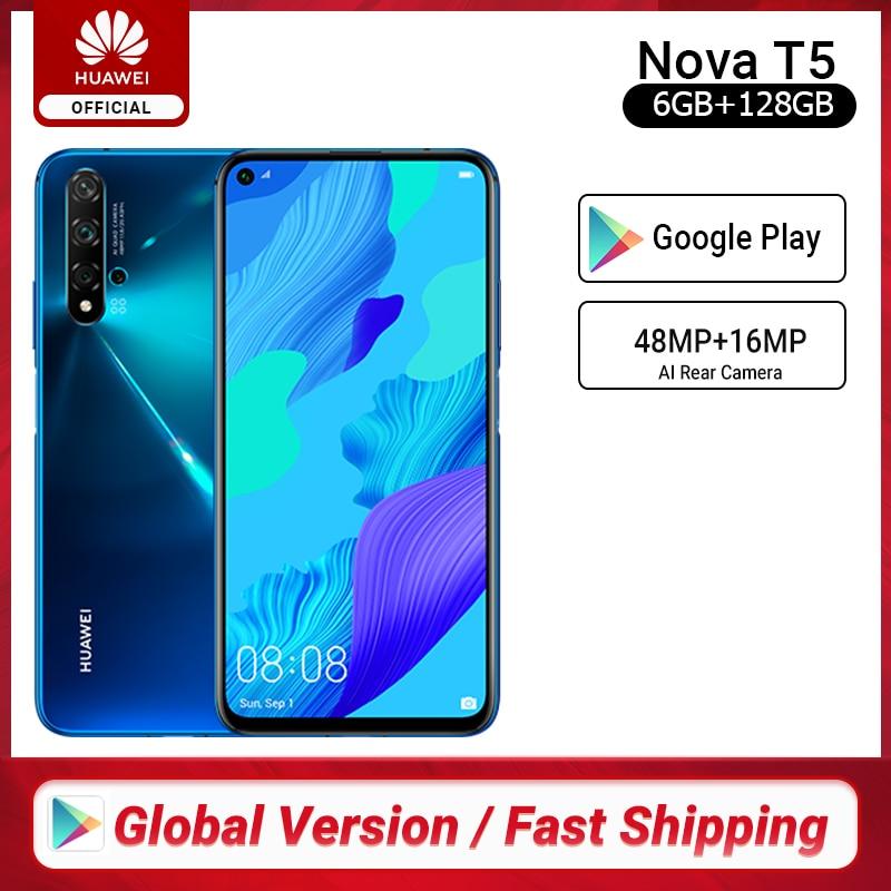Global Version Huawei Nova 5T 5 T 6GB 128GB Smartphone 48MP Cameras 32MP Front Camera 6.26'' Screen Kirin 980 Android 9 NFC