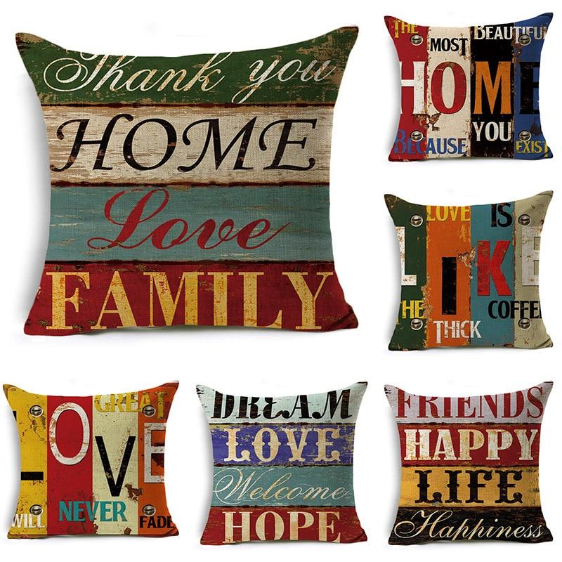 Pillow Case 45 * 45 Simple Vintage British Style Printed Linen Pillowcase Square Decorative Pillowcase