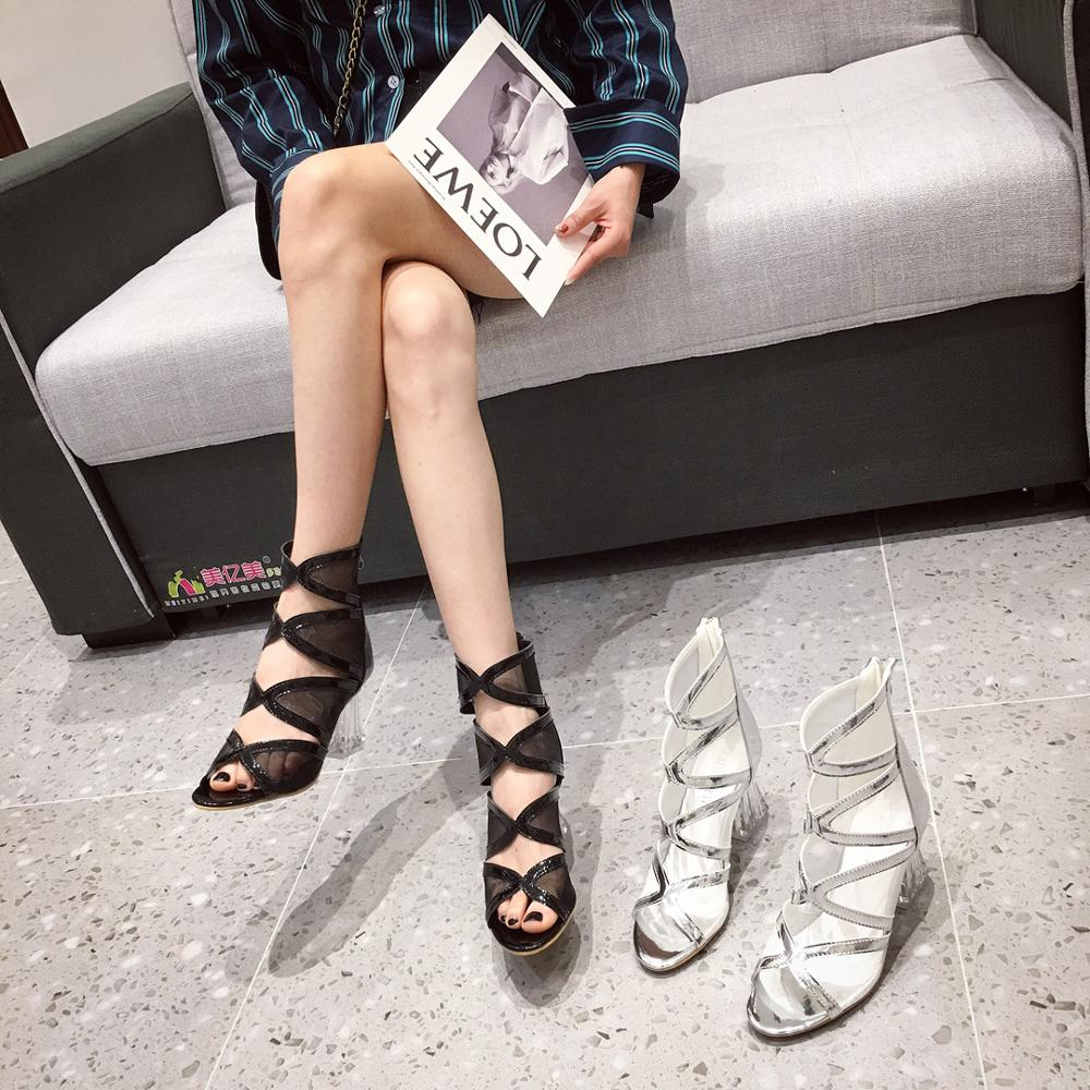 Sexy Women Hollow Boots Sandals Crystal Clear High Heels Pumps Peep Toe Comfortable Thin Heels Back Zipper Sandals Ankle Boots