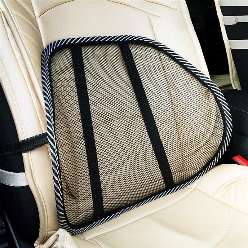 Black Mesh Cloth Car Seat Cushion Lumbar Waist Support Pillow Office C Back Pain Lumbar Automobiles Relief Auto Accessories Y1J8