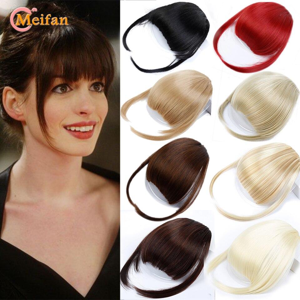 MEIFAN Женская Синтетическая воздушная челка тонкая невидимая челка с зажимом для наращивания волос прямая бахрома аккуратная искусственная ...