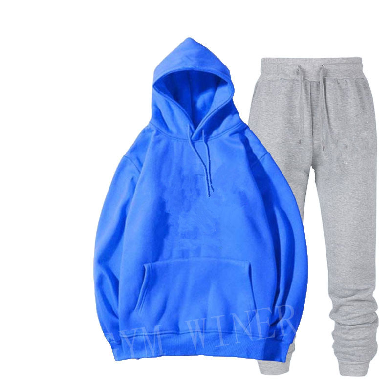 Image 5 - Mens and womens unisex 2 piece hooded trousers sportswear pullover sweatshirt trousers 2 piece sportswear suitMens Sets   -