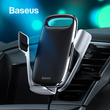 Baseus 15W Qi Wireless Car Charger Phone Holder for iPhone Samsung QC 3.0 Wireless Charging Air Vent Mount Mobile Holder Stand(China)