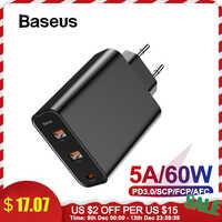 Baseus 3 portas usb carregador com pd3.0 carregador rápido para iphone 11 pro max xr 60 w carga rápida 4.0 fcp scp para redmi nota 7 huawei