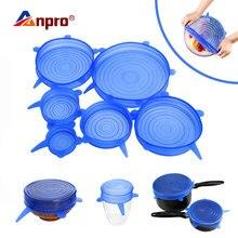 Anpro, универсальные силиконовые эластичные крышки, кухонная посуда, стеклянная чаша, сковорода, крышка, силиконовая пищевая пленка, крышка, многоразовая пробка для разлива, уплотнительная крышка