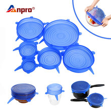6pcs Universal Silicone Stretch Lids Cookware Glass Bowl Pan Pot Lid Silicone Food Wrap Cover Reusable Spill Stopper Seal Cover