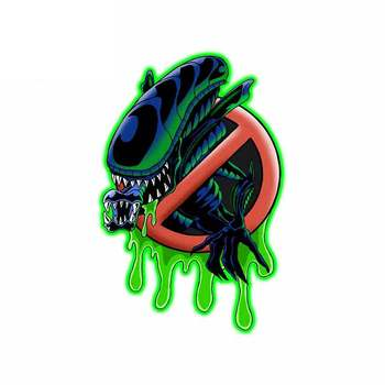 Hot Sell Personality Bug Busters Alien Xenomorph Car Stickers Decals Accessories Auto Decorative Stickers PVC 13cm X 9cm image