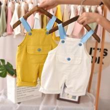2020 chłopięce spodnie na szelkach dla niemowląt kombinezony spodenki kombinezony spodnie dla dzieci ubrania dla dzieci maluch lato ogólnie tanie tanio COTTON Chłopcy Przycisk fly Stałe Luźne baby boy overall solid