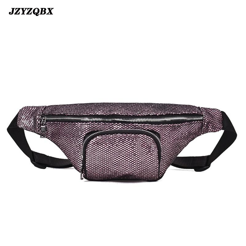 JZYZQBX Women Waist Pack Sequins Waist Bag Banana Bag Waterproof PU Leather Fanny Pack Riñonera Mujer
