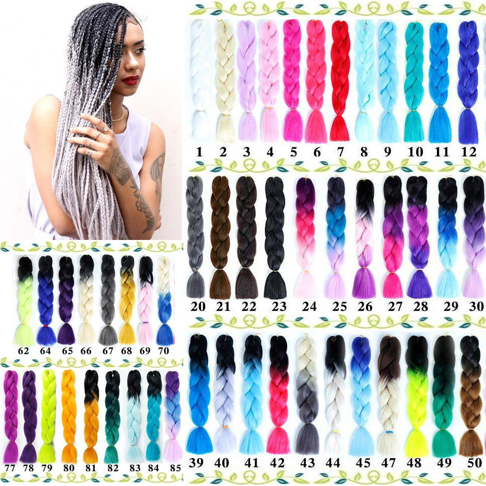 BUQI 24inch 1pack Ombre Hair Bundles Synthetic Jumbo Braiding Hair Kanekalon Crochet Purple Rainbow Fake Hair Extensions