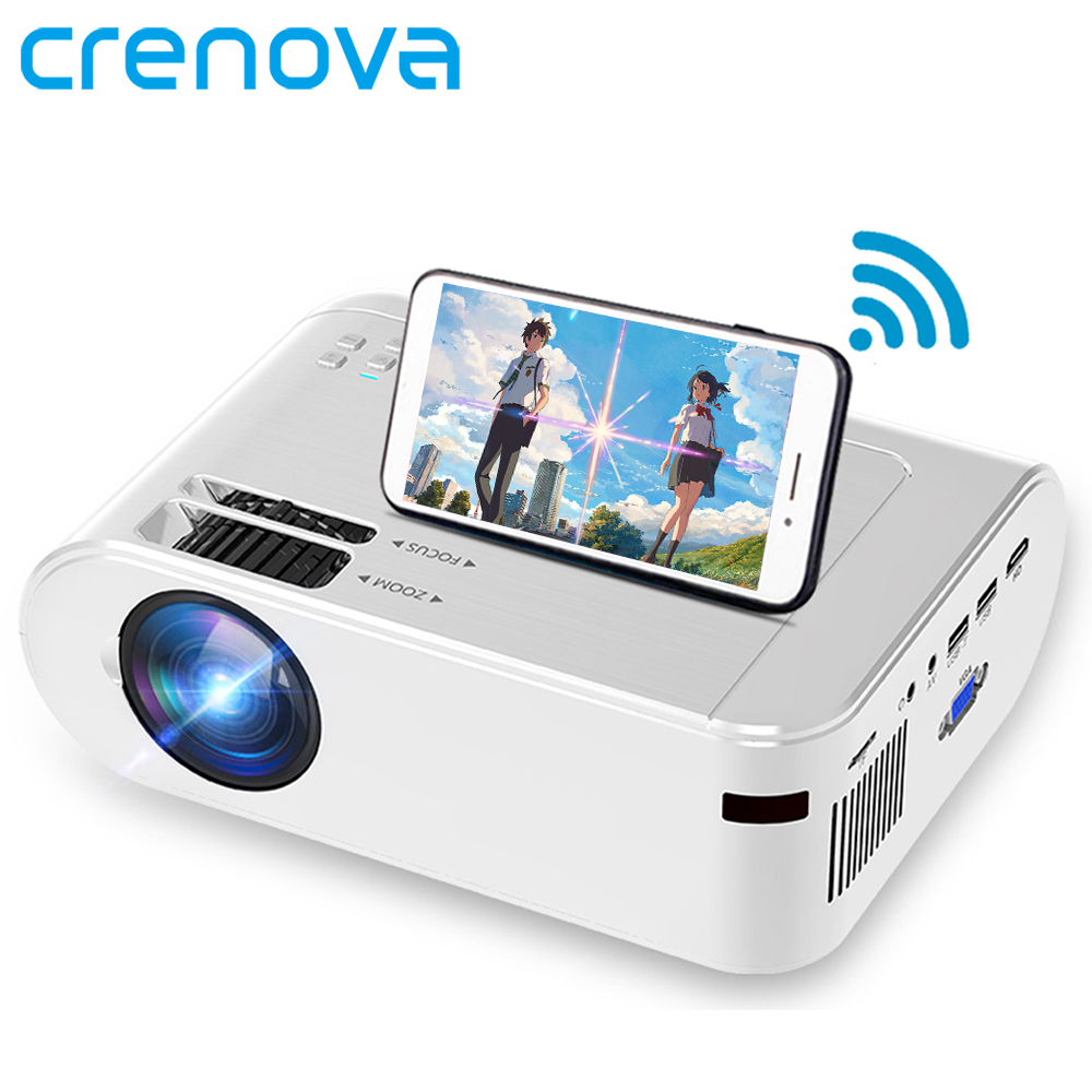 Мини-проектор CRENOVA для домашнего использования, Full HD 1080p, M01C, 2,4 ГГц, Wi-Fi, 3D