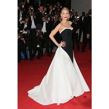 Red Carpet Celebrity Dresses Blake Lively Formal Evening Gowns Black And White Stain Split Sweetheart Prom Dress Custom Made(China)