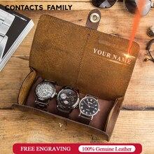 Contacts Familie 3 Slot Horloge Roll Case Chic Display Horloge Doos Koe Lederen Reizen Pols Sieraden Opslag Pouch Organizer Cadeau