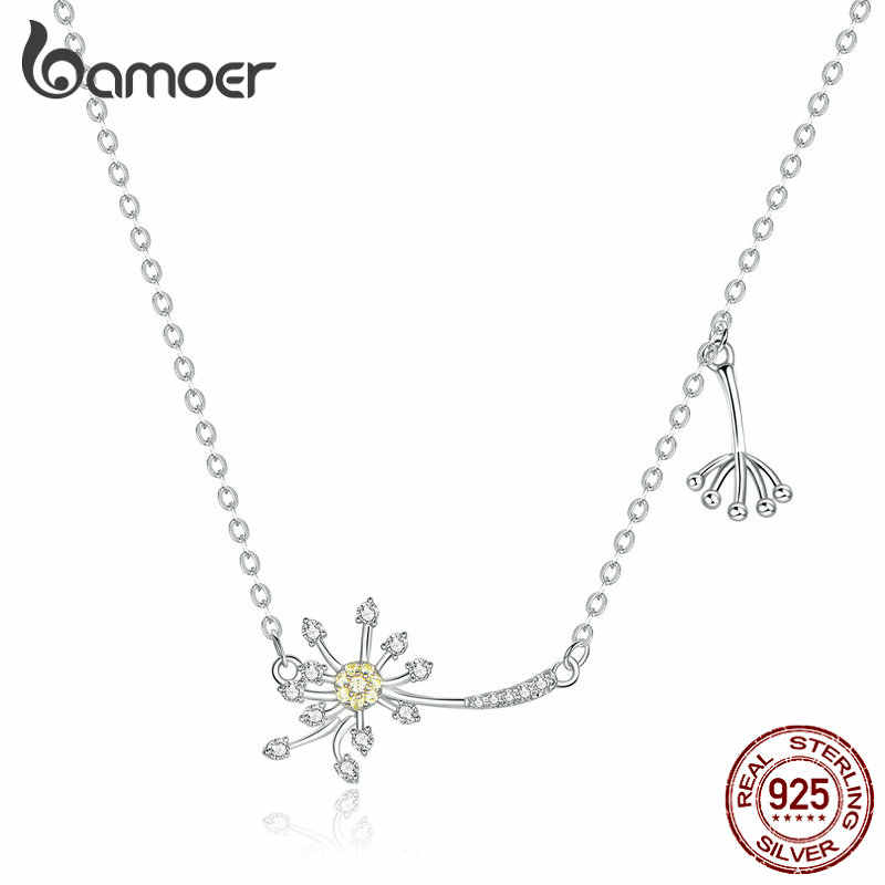 bamoer Authentic 925 Sterling Silver Dandelion Love Short Neckalce for Women Clear CZ Engagement Statement Jewelry Bijoux BSN147