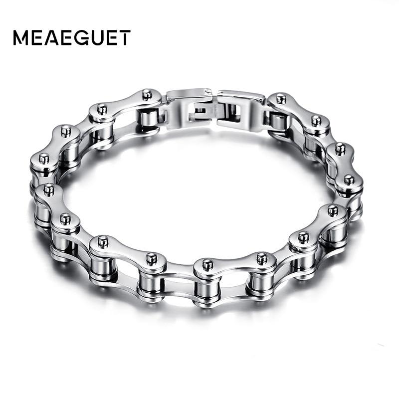 Meaeguet Fashion Stainless Steel Bike Bracelet Men Biker Bicycle Motorcycle Chain Bracelets Bangles Jewelry