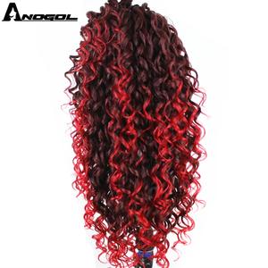 Image 4 - Anogol טמפרטורה גבוהה סיבי ארוך קופצני ספירלת תלתלים כהה בורדו אדום תערובת לתוך בהיר אדום תחרת פאה קדמית