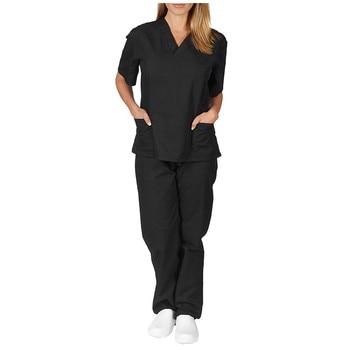 Unisex Nursing Uniforms Nursing Scrubs Clothes Short Sleeved Tops Pants V-neck Shirt Brush Hand Clothing Work Clothes