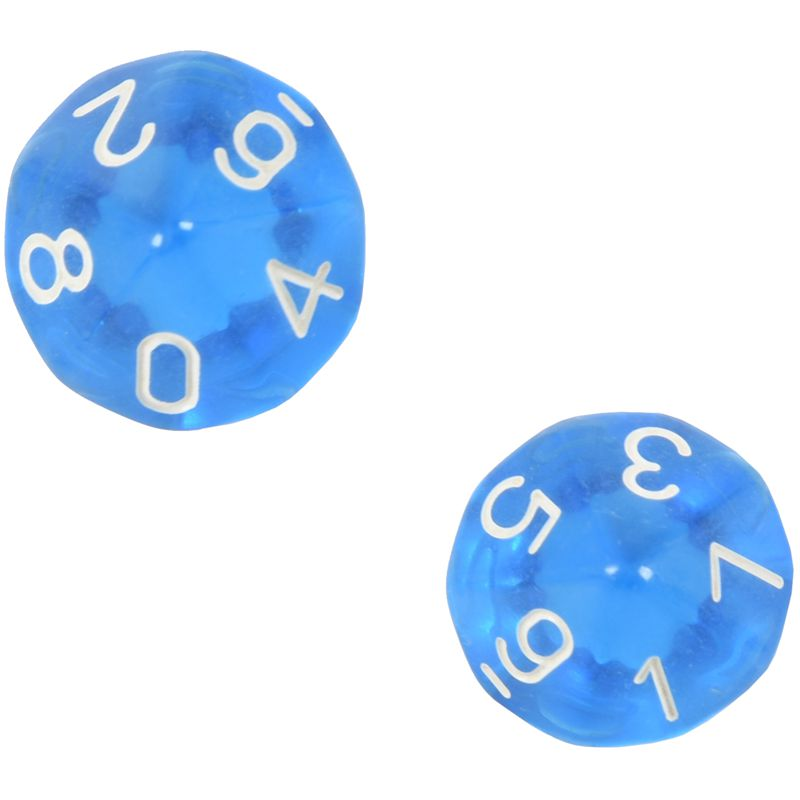 10-Dices D10 Ten Sided Gem Dice Die for RPG Dungeons&Dragons Board Table Games Transparent Blue