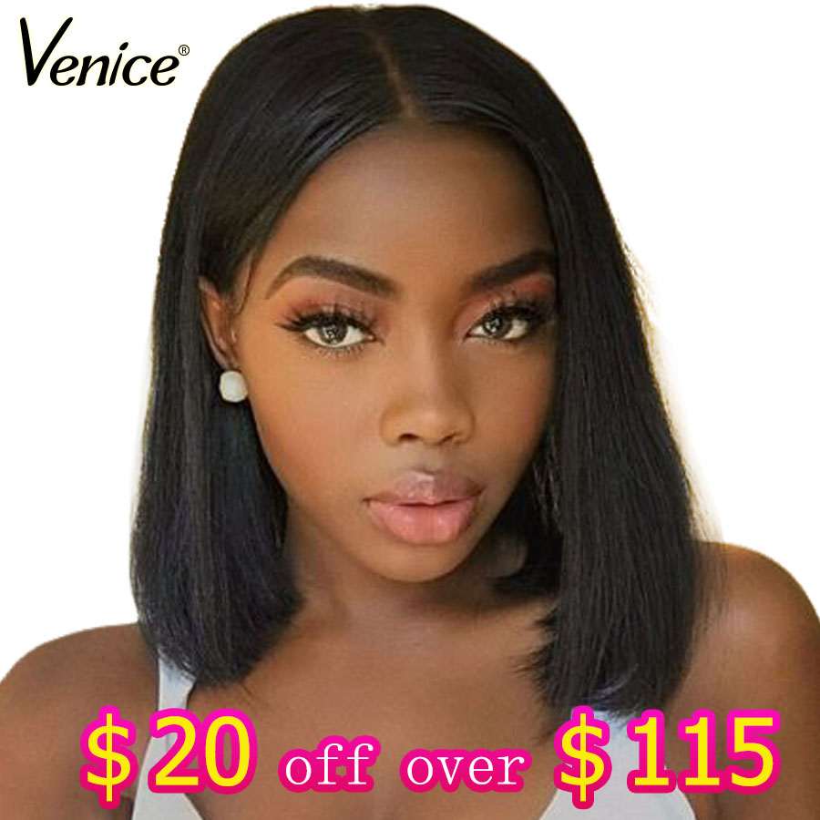 Venice Glueless Full Lace Human Hair Wigs For Black Women Pre Plucked Straight Remy Hair Short Human Hair Bob Wig With Baby Hair