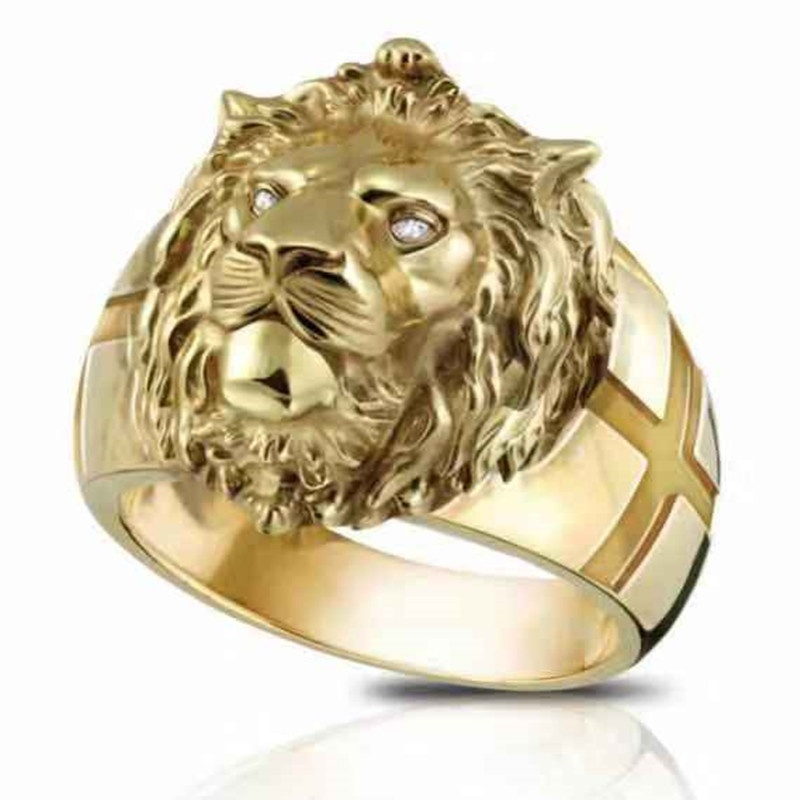 Domineering Stainless Steel Gold Lion Rings Motorcycle Party Men's Rings Personality Punk Biker Rings Male Jewelry Accessories(China)