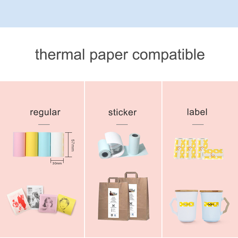 Peripage mini impressora térmica portátil papel foto