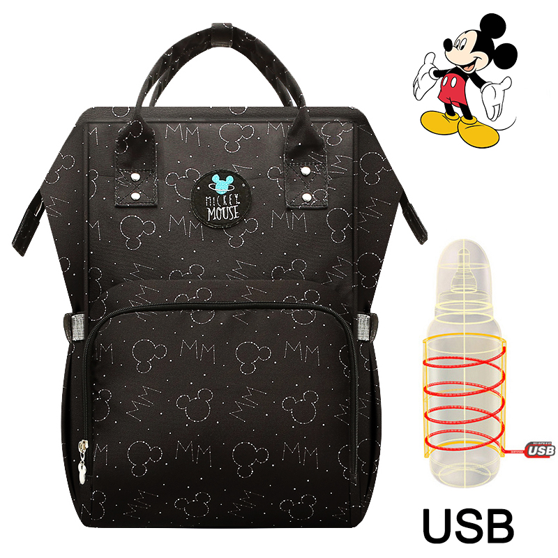 Disney USB Heating Diaper Bag Maternity Nappy Backpack Large Capacity Nursing Travel Backpack Heat Preservation Dropshiping