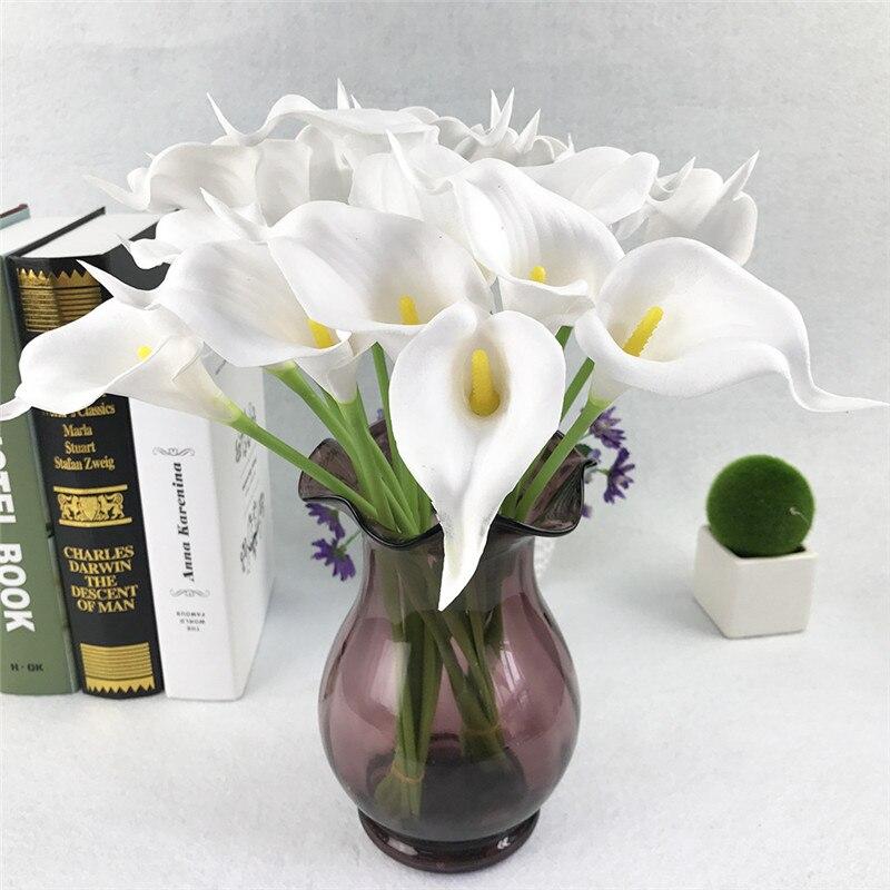 Искусственные цветы из искусственной кожи, 20 шт., букет лилии, искусственные цветы, букет для стола, свадебные украшения для дома, Осенний Цв...