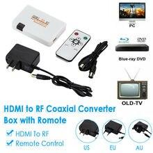HDMI Để RF Đồng Trục Hộp Chuyển Đổi Bộ Phát W/Điều Khiển Từ Xa Dùng Cho Tivi Đời Cũ 1080P HDMI Với Tivi Chuyển Đổi tín Hiệu RF Adapter
