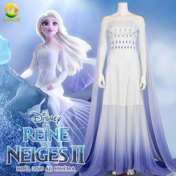 2020 Anime Cos Elsa Princess Dress Girl Cosplay Costume Anna Elsa White Dress Halloween Costume for Adult Women Kids Custom Made the touhou project yukari yakumo cosplay costume halloween luxury party dress custom made