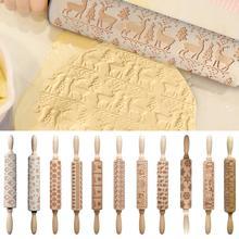 Christmas-Embossing-Rolling-Pin Biscuit Roller Cake-Dough Cookies Noodle Engraved Reindeer