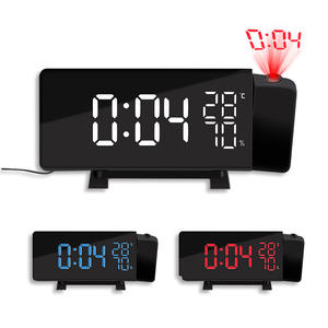 1pcs LED Digital Projection Alarm Clock Temperature Desk Time Date Display Projector Calendar USB Led Desktop Charger Clock
