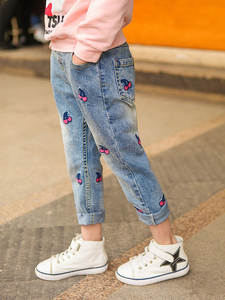 Kids Jeans Trousers Teenagers Girls Winter Denim Pants 3-12years Autumn for Ripped Cherry