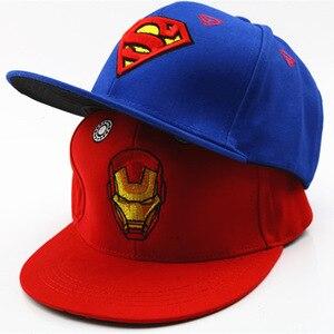 Image 1 - 3D haft Iron Man Batman czapki baseballowe dzieci Snapback czapki hip hopowe kapelusze przeciwsłoneczne dla chłopców dziewcząt 2 9 lat gorras