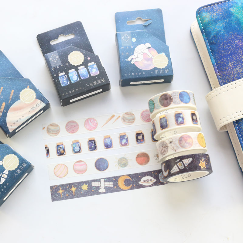 Domikee Creative Japanese Cartoon Sky Stars Pattern Decorative DIY Washi Paper Masking Tapes For Bullet Journal Diary Stationery