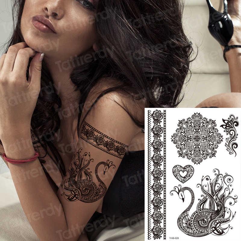 Strümpfe tattoo beine schwarz henna spitze armband tattoo aufkleber schmuck mehndi aufkleber für hand finger bein oberschenkel körper kunst aufkleber