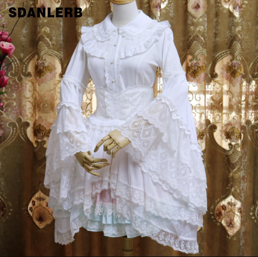 Rétro col claudine chemisier en mousseline de soie femmes manches longues évasées ébouriffées blanc/noir doux imprimé chemise haute