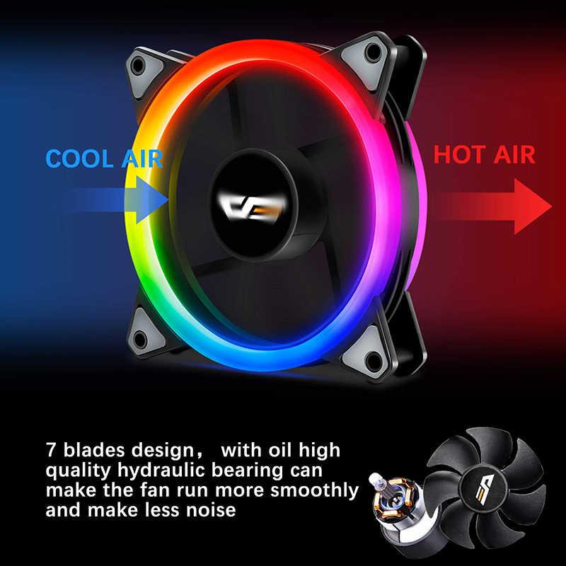 Aigo DR12 PRO RGB ventilateur de boîtier de LED pour refroidisseur de processeur ajuster la vitesse ventilateurs de refroidissement par eau silencieux à distance 120mm Aura Sync coque d'ordinateur ventilateur de PC