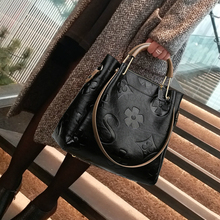 Vintage Flower Pattern Handbag for Women Genuine Leather Classic Black Casual Totes Office