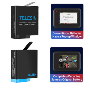 Image 5 - TELESIN 3 Way LED Battery Charger + 3 Battery Pack Charging Box Type C Cable for GoPro Hero 8 7 6 Hero 5 Black Accessories Set