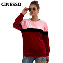 CINESSD Women Velvet Hoodies Sweatshirt O Neck Long Sleeves Multi Color Patchwork Pullover Tunic Tops Stretchy Casual Tee Shirts