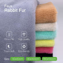 1Pcs 50/80/160cm Faux Rabbit Fur Fabric 100% Polyester 10mm Pile Super Soft Plush Fabric For Handmade Stuffed Toys Sewing Fabric
