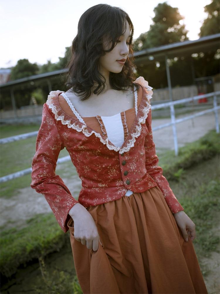 Original Design AIGYPTOS Frauen Frühling Herbst Vintage Elegante Schlanke Süße V ausschnitt Langarm Floral Baumwolle Cord Kurze Jacke