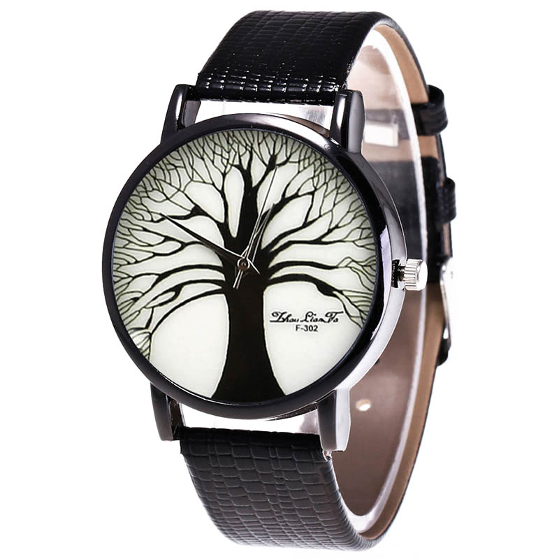 Fashion Quartz Watch Mens Women Couple Electronic Watch Tree With PU Wrist Strap LL@17