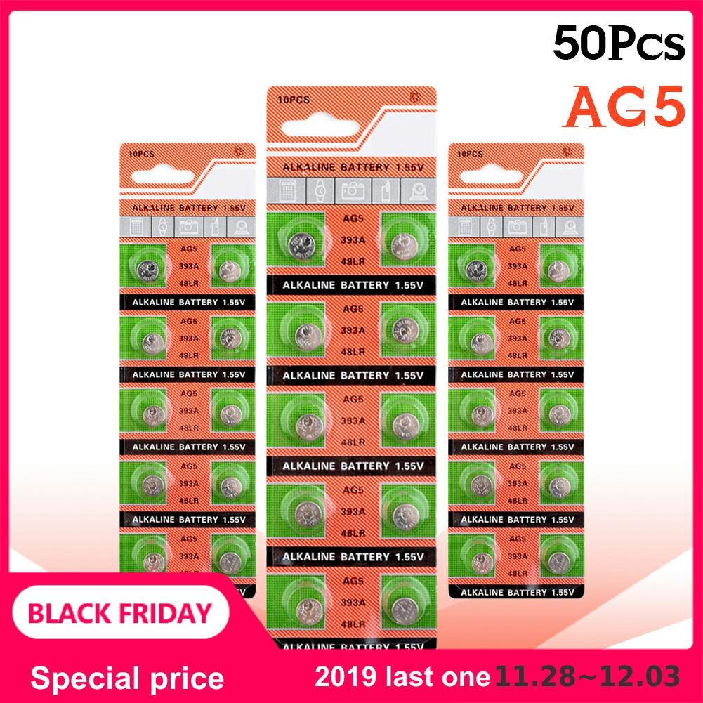 50pcs/5pack YCDC 1.55V AG5 Button Cell Coin Batteries LR48 L750 LR754 393 SR754 193 309 398A Lithium Alkaline Watch Toys Battery