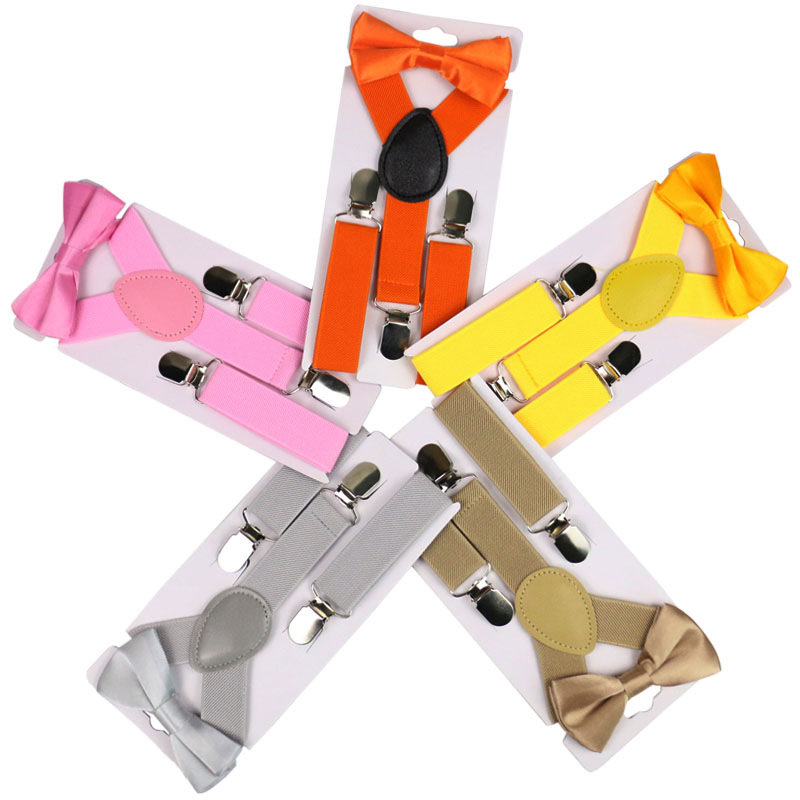 Winfox Children Suspenders Bowtie Set Baby Boys Girls 2.5cm Wide Black Red Yellow Suspenders Bow Tie Kids Braces